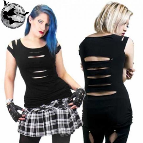 NECESSARY EVIL Erinys Slashed Gothic Top